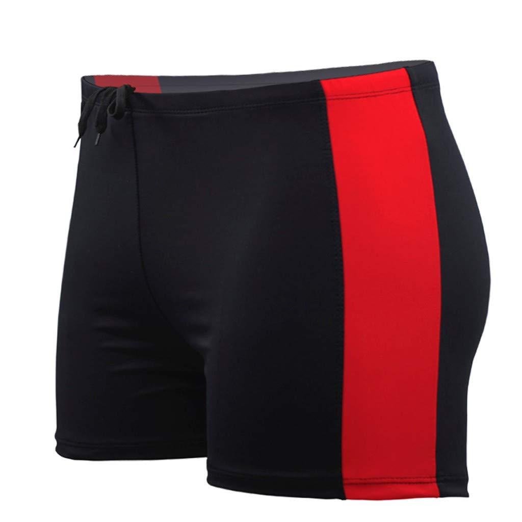 TWinmar Men's Half Swim Trunks Quick Dry Underwear Summer Beach Surfing Shorts Casual Print Panties Running Swimming Swimsuit Red