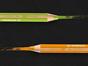 STABILO woody 3 in 1 con Temperino e Pennello -Colori assortiti Matita colorata Multi-Funzione Astuccio da 18