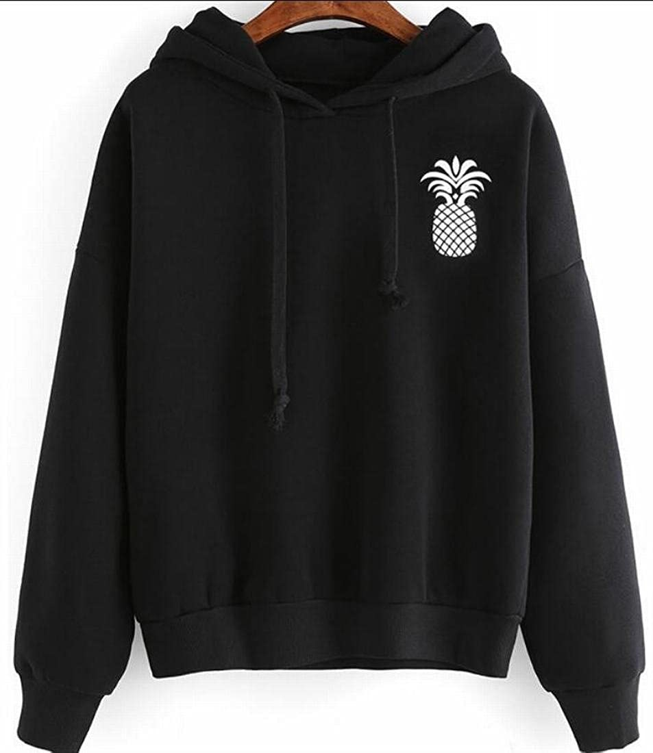 Smeiling Womens Long Sleeve Pineapple Patern Hooded Sweatshirt Stylish Pullover