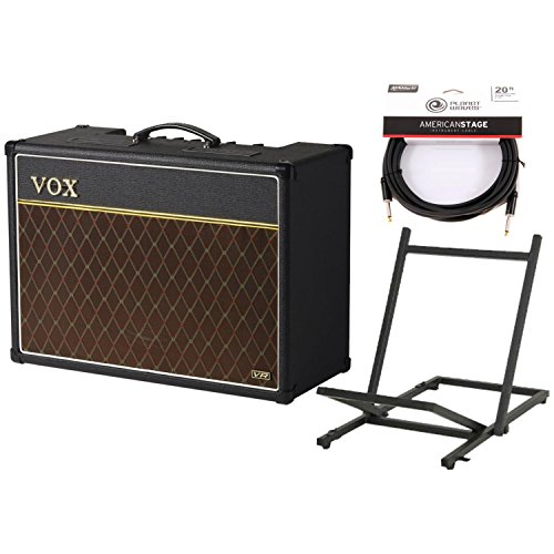 Vox AC15VR Valve Reactor 1x12 Guitar Combo Amp w/20' Instrument Cable and Amp Stand by Vox