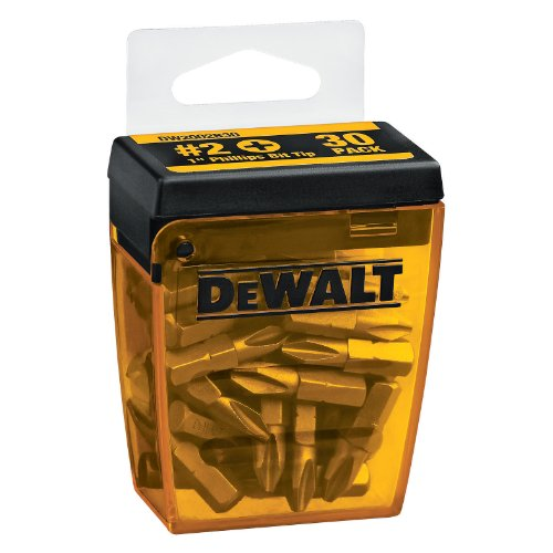 DEWALT DW2002B30 #2 Phillips 1-Inch Bit Tips with Bit Box (30-Pack)