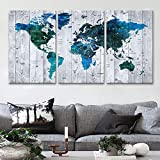 """Original by BoxColors LARGE 30""""x 60"""" 3 panels 30x20 Ea Art Canvas Print Watercolor blue green Map World Push Pin Travel Wall home office decor (framed 1.5"""" depth) M1813"""