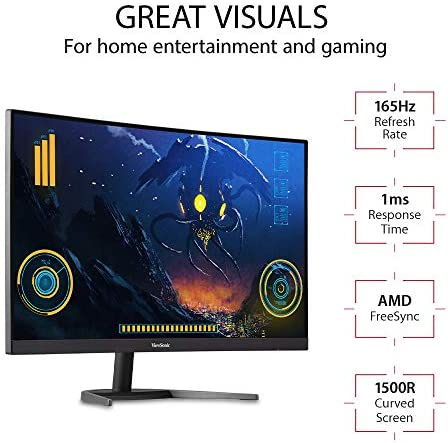 VIEWSONIC VX2768-PC-MHD 27 INCH 1080P CURVED 165HZ 1MS GAMING MONITOR WITH FREESYNC PREMIUM EYE CARE HDMI AND DISPLAY PORT, BLACK