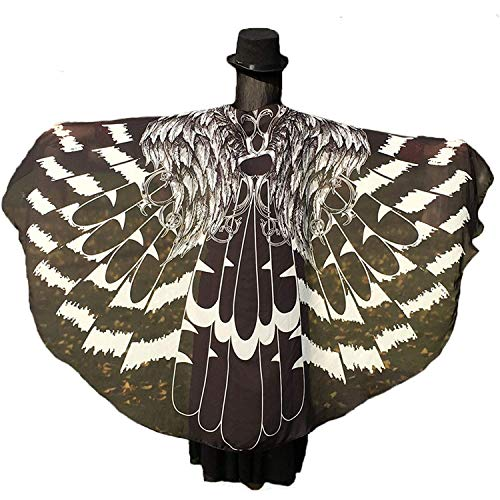 Shireake Baby Halloween/Party Prop Soft Fabric Butterfly Wings Shawl Fairy Ladies Nymph Pixie Costume Accessory ... (197 x 130CM, Black Eagle)