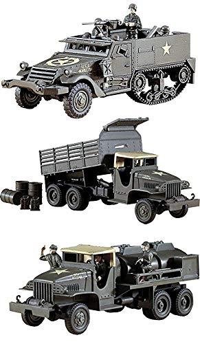 3 Hasegawa WW2 US Military Truck Assembly Models - GMC Gasoline Tank Truck, Dump Truck & M4A1 Half Track (Japan Import)