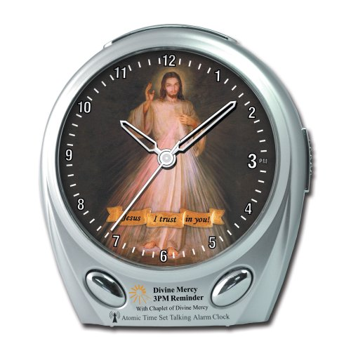 Maximal Power ElecTalkClock 3PM Divine Mercy Musical Reminder Atomic Talking Alarm Clock with Atomic Clock Features (Silver)