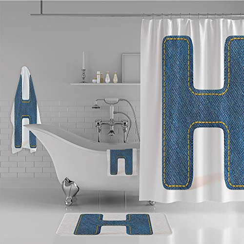 ece Set Shower Curtain Floor mat Bath Towel 3D Print,Uppercase H Fabric Pattern Jeans Texture Retro,Fashion Personality Customization adds Color to Your Bathroom. ()