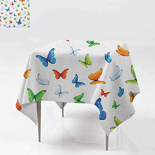 AndyTours Spill-Proof Table Cover,Butterflies,Butterflies Animal Clipart Ecology Environment Joyful Design Cartoon Tropics,Party Decorations Table Cover Cloth,36x36 Inch Multicolor