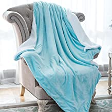 """HoroM Sherpa Throw Blanket Aqua Blue 50""""x60"""" Microfiber Reversible Bed Throws Luxury Soft Cozy Fluffy Warm and Fuzzy Blankets for Bed or Couch"""