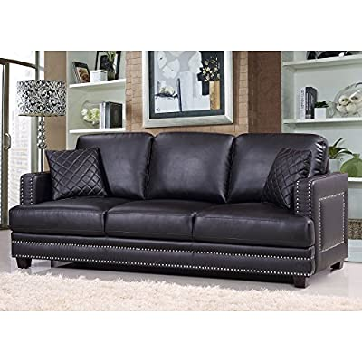 Meridian Furniture Ferrara Leather Nailhead Sofa