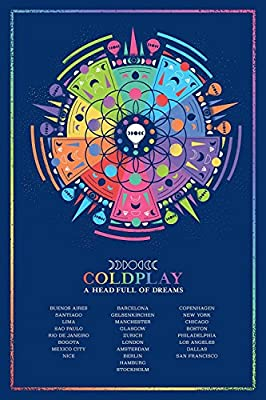"""Coldplay British Rock Band """" A Head Full of Dreams """" Guy Berryman Jonny Buckland Will Champion Chris Martin 12 x 18 Inch Poster Print Rolled Wall Decor By A-ONE POSTERS"""