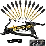 Crossbow Self-Cocking 80 LBS by KingsArchery® with Adjustable Sights, Spare Crossbow String and Caps, and a Total of 15 Aluminim Arrow Bolt Set + KingsArchery® Warranty
