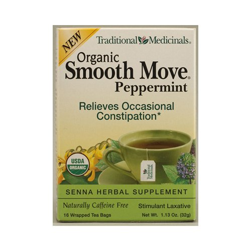 (Traditional Medicinals Smooth Move Senna Herbal Stimulant Laxative Tea, Peppermint 1.13 oz (Pack of 2))