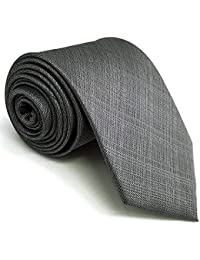 "Shlax&Wing Solid Color Grey Mens Neckties Ties Business Suit XL 63"" 57.5"" Classic"