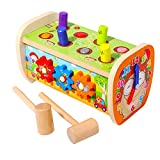 Arkmiido 5 in 1 Wood Pounding Bench with Gears, Clock, Sliding, Mirror, Preschool Hammering Toys Learning Fine Motor Skills for 1-3 Years Old Toddlers