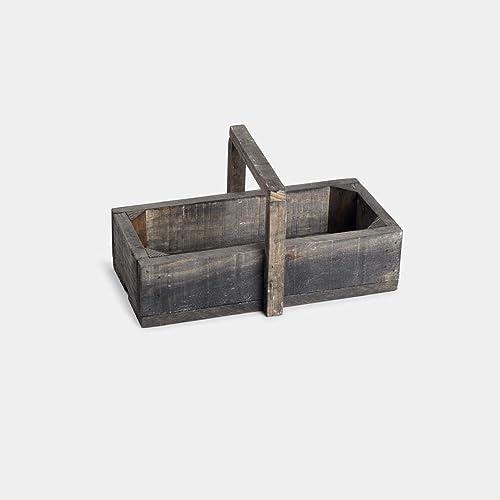 Caja, cajón de madera de pino natura con asa en gris envejecido ideal para decoración