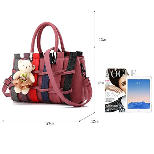 Bag Bear Light Handbag Shoulder with Messenger Fashion Woven Purse Purple Bag Color Tisdaini hit Z4q14w