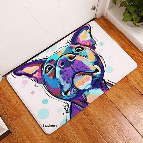 eazyhurry YJ Bear Thin Purple Puppy Dog Pattern Floor Mat Coral Fleece Home Decor Carpet Indoor Rectangle Doormat Kitchen Floor Runner 16
