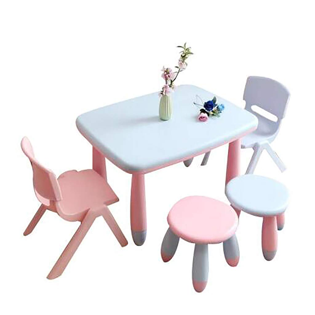 Children Table and 4 Chairs Set, Kids Plastic Furniture for Home Daycares Assorted Nursery for Toddler 2-8 Years Old Indoor or Outdoor Use by Children Desk