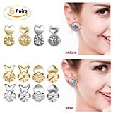 Earring Backs Lifters - Magic Bax 6 Pairs Earring Backs Set Adjustable Hypoallergenic Safety Locking Stud Earring Lifts Accessories for Women and Girls(2 Silvery, 4 Gold)