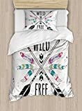 Ambesonne Tribal Duvet Cover Set Twin Size, Crossed Ethnic Arrows with Wild and Free Motivation Quote Primitive Illustration, Decorative 2 Piece Bedding Set with 1 Pillow Sham, Black Coconut