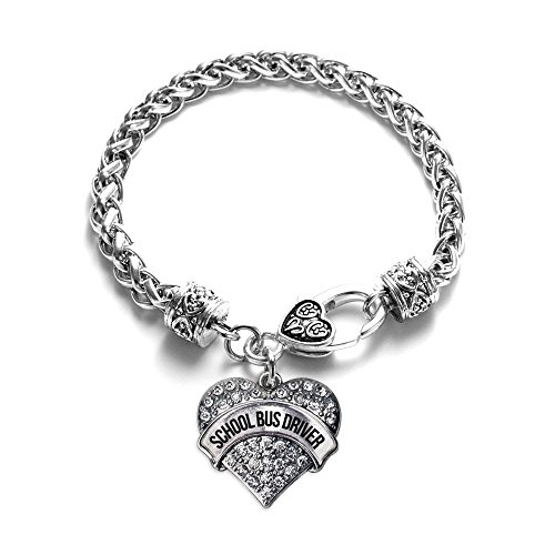 Inspired Silver School Bus Driver Pave Heart Charm Bracelet by Inspired Silver