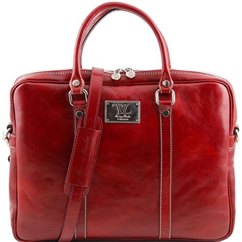 in Rosso porta cartella Prato Leather Tuscany pelle notebook Marrone Esclusiva pqwZYzWBzv