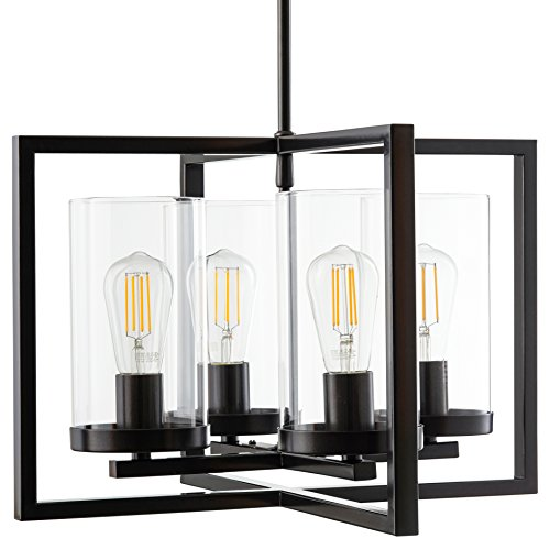 Verona 4 Light Contemporary Intersecting Pendant - Bronze w/LED - Linea di Liara LL-CH18-6DB-LED
