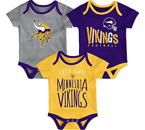 Outerstuff NFL Infants Tailgater 3 Piece Creeper Bodysuit Set (18 Months, Minnesota - Minnesota Vikings Tailgater