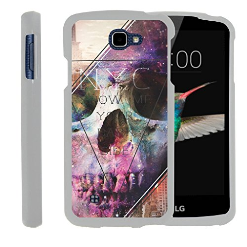 (MINITURTLE Case Compatible w/ [LG K4 Case, LG Optimus Zone 3 Case, LG Spree, LG Rebel White Case][Snap Shell] 2 Piece White Design Case, Perfect Fit Hard Rubberized Cover - Your Dark Side)