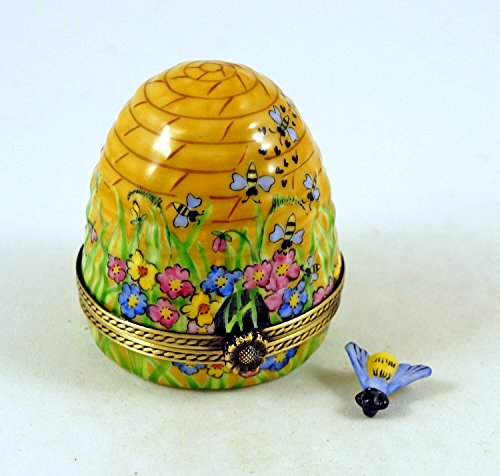 - Authentic French Porcelain Hand Painted Limoges Trinket Box Amazing Colorful Beehive with Miniature Porcelain Removable Bee