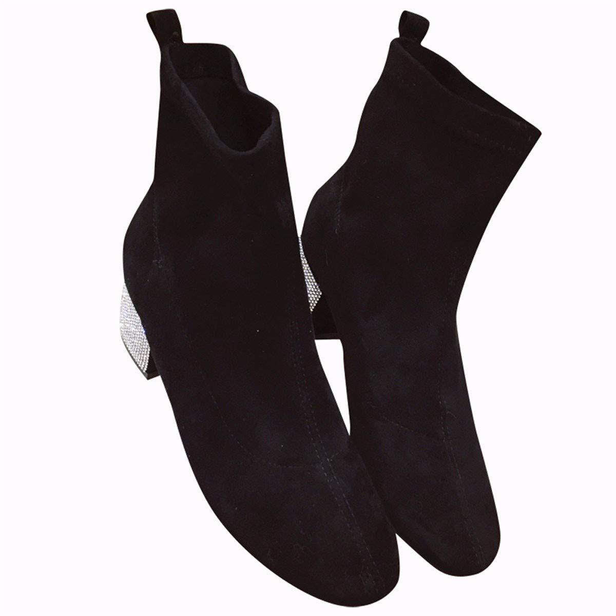 HBDLH Damenschuhe Schuhe Heel 5Cm 100 Sätze Retro Wildleder Am Kopf Drill Bei Martin Stiefel Schlank Schwarze Stiefel