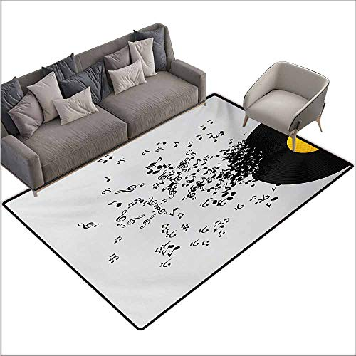 Oversized Floor Rug Music Abstract Design Flying Music