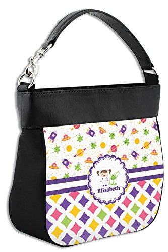 Purse Print Leather amp; Girl's Space Front Geometric Personalized amp; Back w Hobo Genuine Trim aaXP8