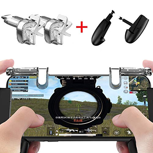 Mobile Game Controller[Upgrade Version] VISION SPORTS Sensitive Shoot and Aim Keys L1R1 and Gamepad for PUBG/Fortnite /Knives Out/Rules of Survival, Mobile Gaming Joysticks for Phones(1Pair+1Gamepad) by VISION SPORTS