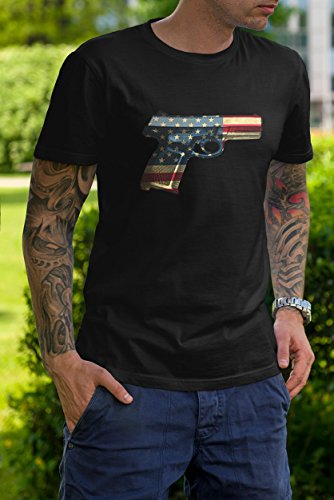 Patriotic Shirt USA Pistol American Gun Flag 4th of July Mens T-Shirt