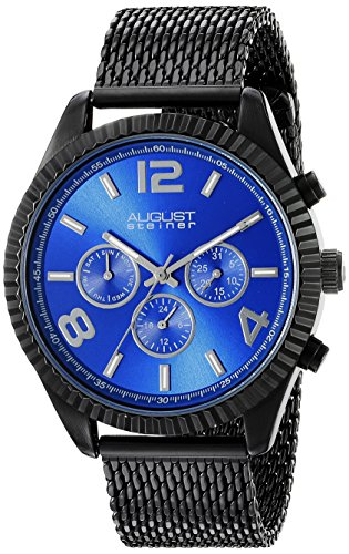 August Steiner Men's AS8196BKBU  Round Blue Radiant Sunburst Dial Two Time Zone Quartz Black Bracelet Watch