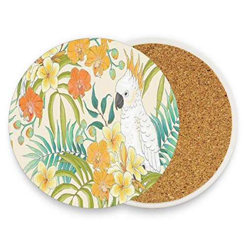 - Plumeria Orchid Leaves Coasters, Prevent Furniture From Dirty And Scratched, Round Wood Coasters Set Suitable For Kinds Of Mugs And Cups, Living Room Decorations Gift 1 Piece