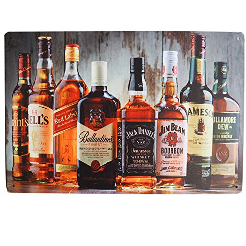 M-Mount Whiskey Vintage Tin Sign Beer Vintage Fun Bar Food Man Cave Beach Sign Metal Poster Board Style Wall Decoration Gift Garage Dinner Cafe Art Iron 12X8