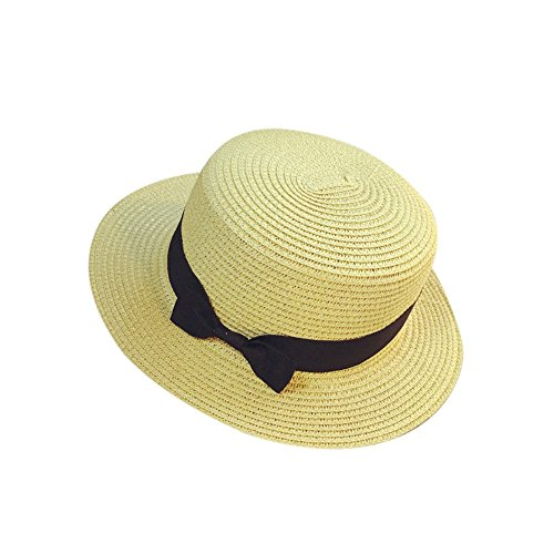 Womens Mini Wide Brim Straw Panama Boater Hat Fine Braid Fedora Summer Beach Flat Top Ribbon Uv Protection Sun Hat for Ladies Outdoor Travel (Beige)