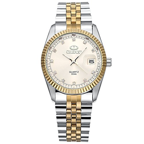 Men's Unique Stainless Steel Band Wrist Watch Classic Round Gold Silver Two Tone Diamond Paved Analog Quartz Business Casual Dress Sport Watches Waterproof - (Classic Gold Dress Watch)