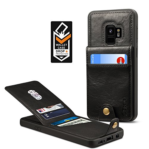 Samsung Galaxy S9 Wallet Case for Galaxy S9 Credit Card Case Spaysi Galaxy S9 Leather Wallet Case for S9 Magnetic Closure Kickstand Gift Box (Black)