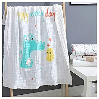 Catteyonce Muslin Gauze Baby Towel of 6 Layers, 41 x 41'' Large Bath Towel for Newborn, 1-Pack Super Soft Cotton Blanket Suitable for Baby's Delicate Skin (Crocodile)