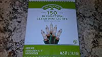Holiday Time 150 Clear Mini Lights, 16 Function, w/ Spare Parts Too
