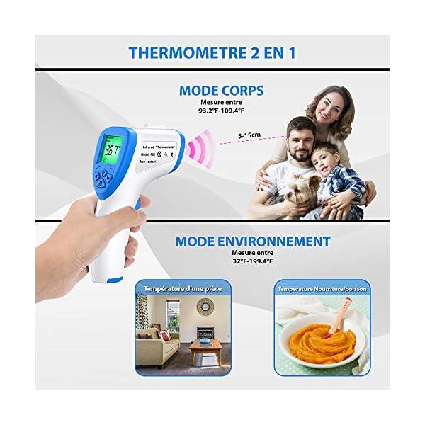 Thermomètre Frontal LIFECORP Thermometre Adulte Infrarouge, Thermometre sans contact, Écran LCD, Fonction Mémoire…