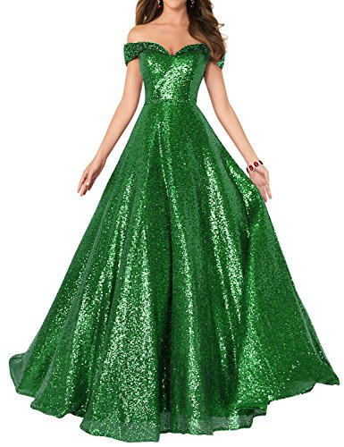 2018 Off Shoulder Sequined Prom Party Dresses for Women A Line Empire Waist Robes Plus Size Formal Evening Skirts Long Elegant Gowns SHPD41 Green Size 18W