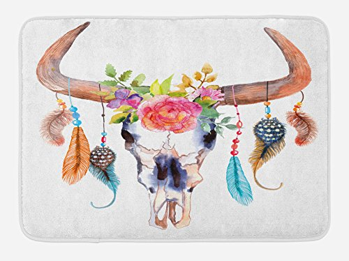 "Ambesonne Feather Bath Mat, Watercolor Style Bull Skull with Ornaments Vibrant Image, Plush Bathroom Decor Mat with Non Slip Backing, 29.5"" X 17.5"", Brown White"