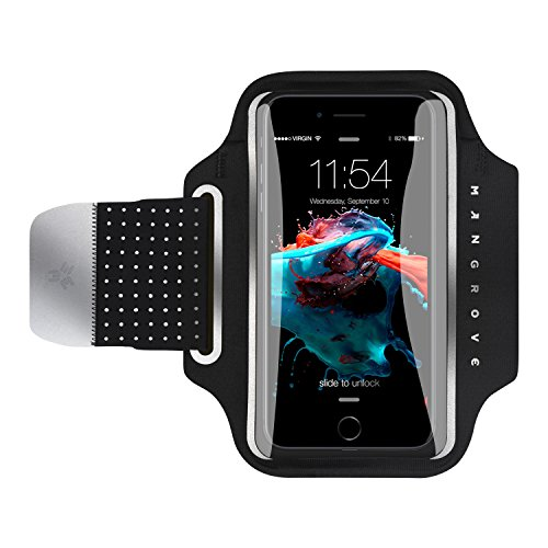 Running Arm (Water Resistant Cell Phone Armband for iPhone8 Plus, 7 Plus, 6, Samsung Galaxy Note 8, S8, Google Pixel, 5-6 Inch Reflective Running Workout Exercise Arm Phone Holder, Key/Card Holder + Free Extender)