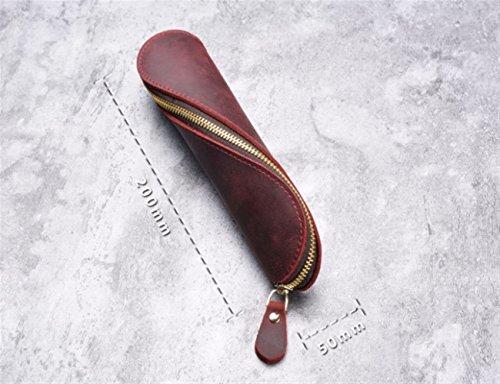 Fishinnen Nuevo Regalo de Estudiante Bolígrafo de Cuero Exquisito Estuche de lápices Estuche de lápices a Mano (Rojo Vino)