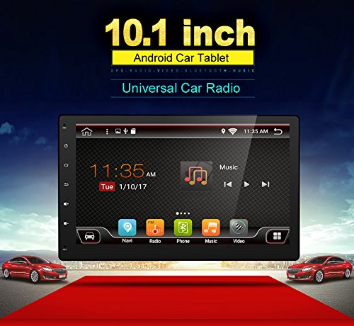 Android 6.0 2G 32G High Resolution:1024600 Quad-Core 10.1'' Full Big-screen Universal Car GPS 2 din Stereo Navigation support Bluetooth Wifi OBD DBA Subwoofer Mirror Link free Camera(NO DVD CD player) by BOSION Navigation